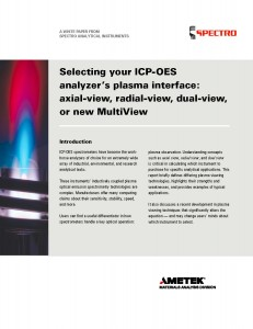 New Whitepaper Helps with Selection of ICP-OES Spectrometer's Plasma Interface: Axial-View, Radial-View, Dual-View or New Multiview